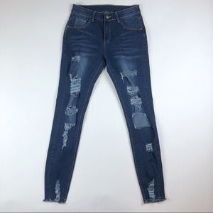Denim - High Waisted Distressed Pencil Jeans